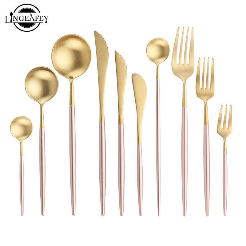 Steel Cutlery Set Pink Handle Gold Spoon Knife Fork Chopsticks Dessert Dinneware Western Teaspoons Tableware For Wedding Party