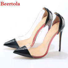089636e601da Beertola Top Quality Tacon Woman Shoes Transparent Sexy Red Black Pointed  Toe High Heels Stiletto Women PU Shallow Lady Pumps