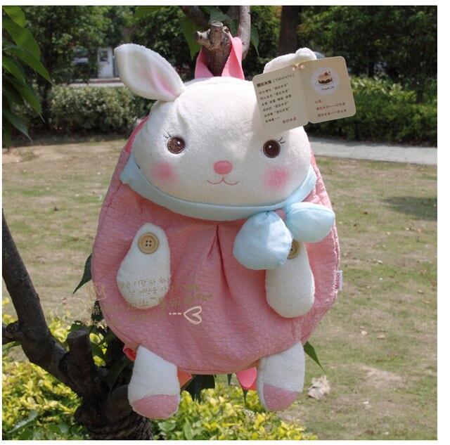 De 1 pc 33 cm dos desenhos animados metoo doce bowknot criativo macio coelho de brinquedo de pelúcia mochilas