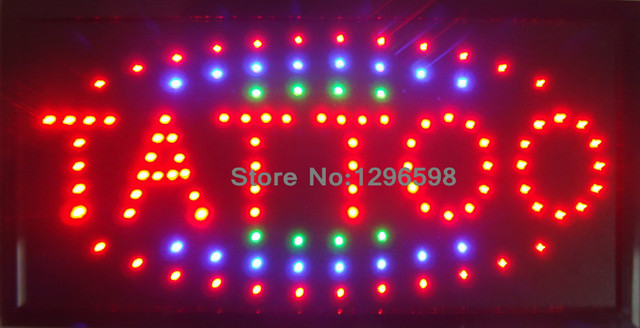 2016 New arriving Led Tattoo sign direct selling custom Graphics indoor Ultra Bright running 10X19 inch tattoo store sign of led