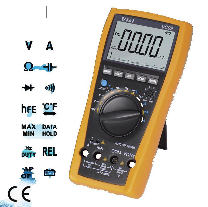VC99 Digital Multimeter VC FLUKE 17B Vichy Original 3 6/7 Auto Range DMM AC DC Voltmeter Capacitance Resistance Meter