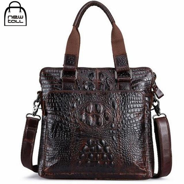 [NEWTALL] 2017 Fashion High Quality Men's 100%Genuine Leather Crocodile Crossbody Handbag Men's Gift Free Shipping B1015