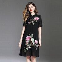 2018 New Elegant Embroidery Summer Dress Women Chinese Style Half Sleeve Mandarin Collar Loose Cheongsam Dresses Female