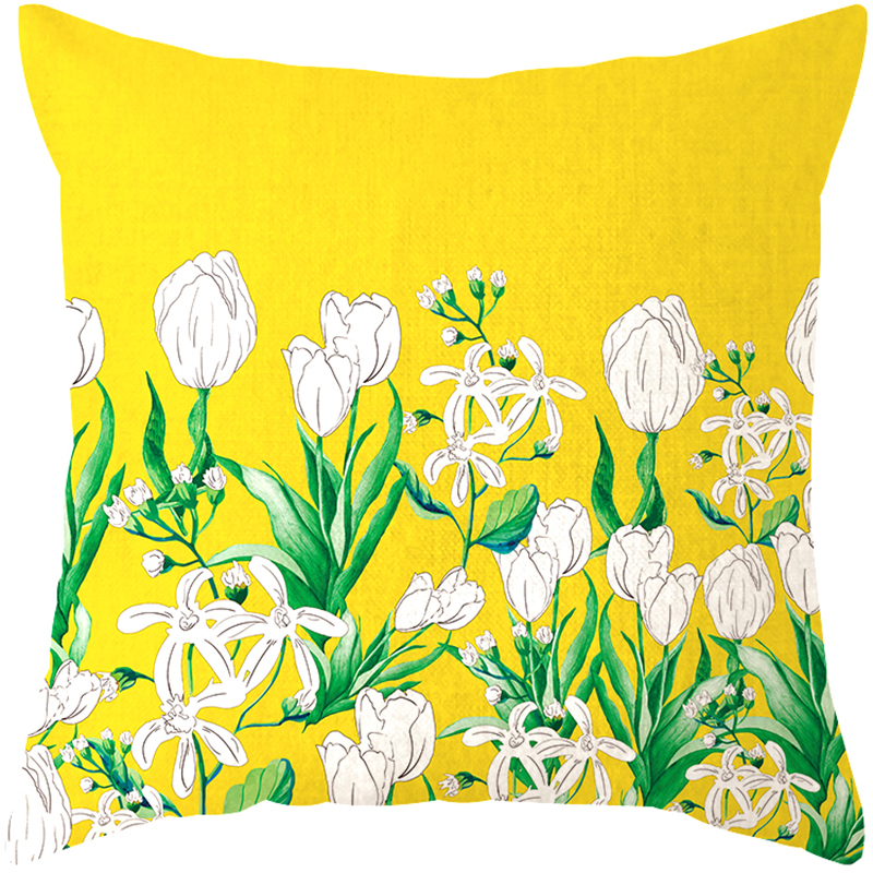 US $17 99 |Decorative cushion cover/Ins Cat plant Yellow Tulip Forest  cotton pillow/Wholesale and retail cushions/Marine style waist -in Cushion  Cover