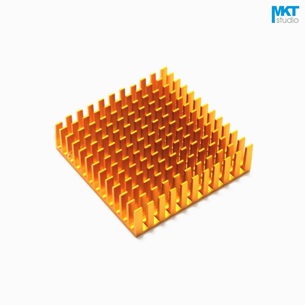 50Pcs Gold 40mmx40mmx11mm Pure Aluminum Cooling Fin Radiator Heat Sink