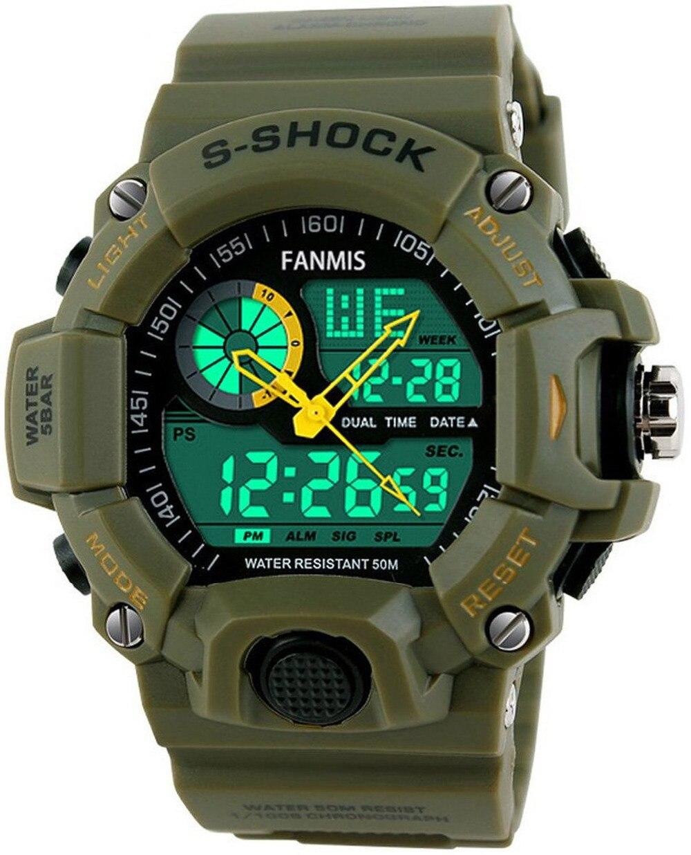 Военно-тактические часы Для мужчин Montre S-шок цифровые часы Спорт на открытом воздухе Dual Time Водонепроницаемый 50 м путешествия хронограф часы