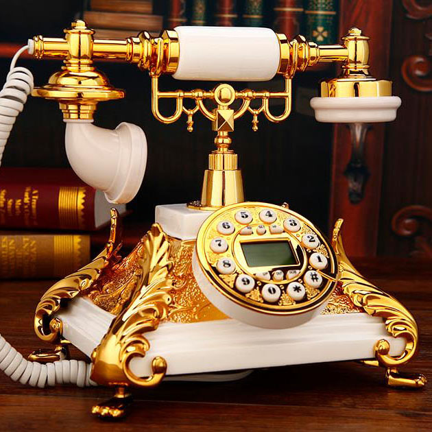European Vintage square fixed phone antika resin Antique British Landline Telephone Telefono Fijo For Home Office white red