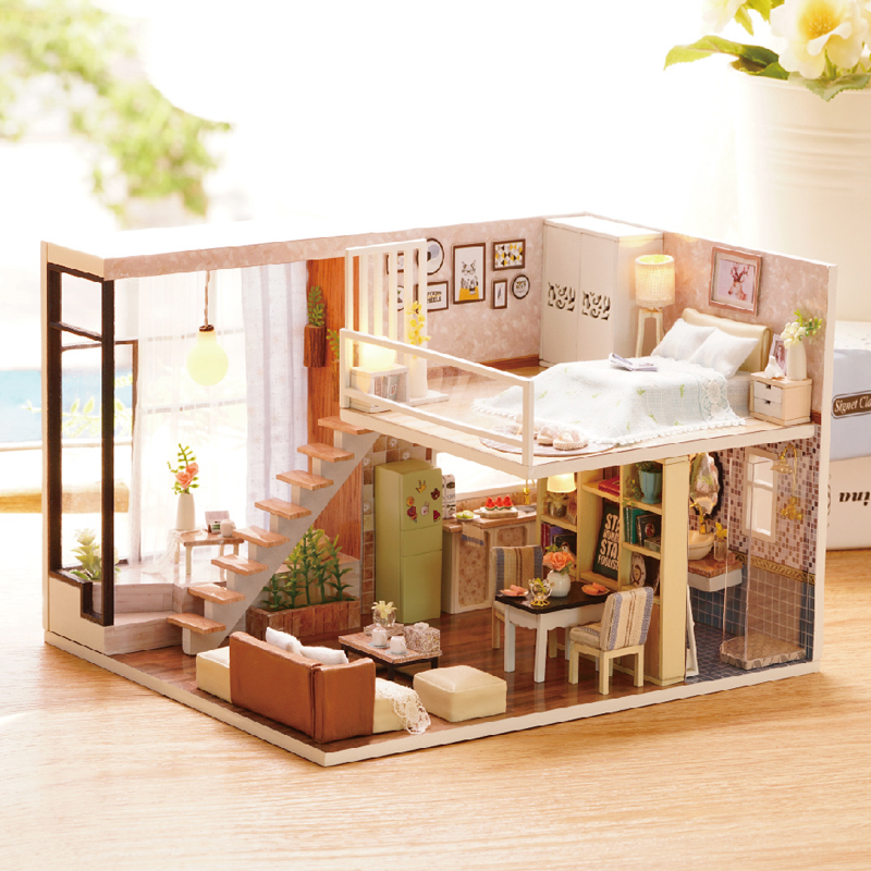 Elegant DIY Miniature Model Dollhouse With Furnitures LED 3D Wooden House Toys Handmade Gifts Scilent Moment L020 #D