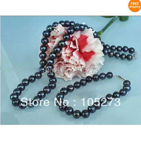 New Arrive Chirstmas Jewellery ! Black Color Genuine Freshwater Pearls Necklace & Bracelet Jewelry Set AA 6 7MM Round Hot Sale