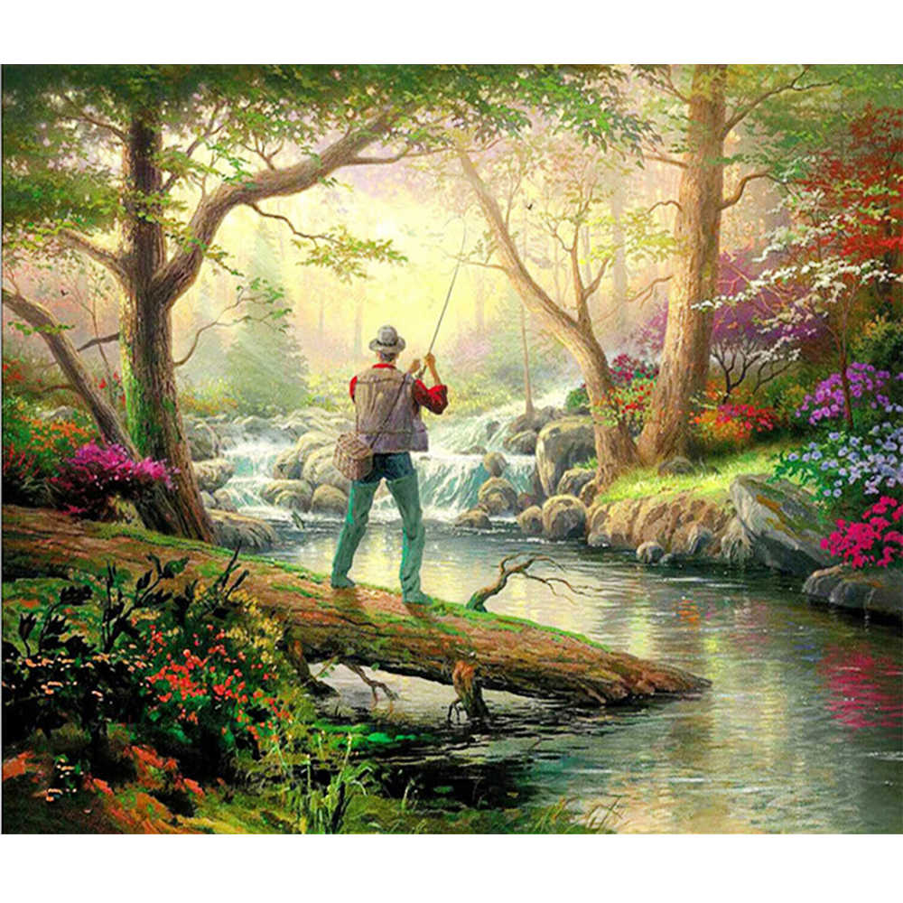 "DUTEY 5D DIY Full square diamond painting ""Forest A angler"" 3d embroidery cross stitch rhinestone mosaic home decor gift"