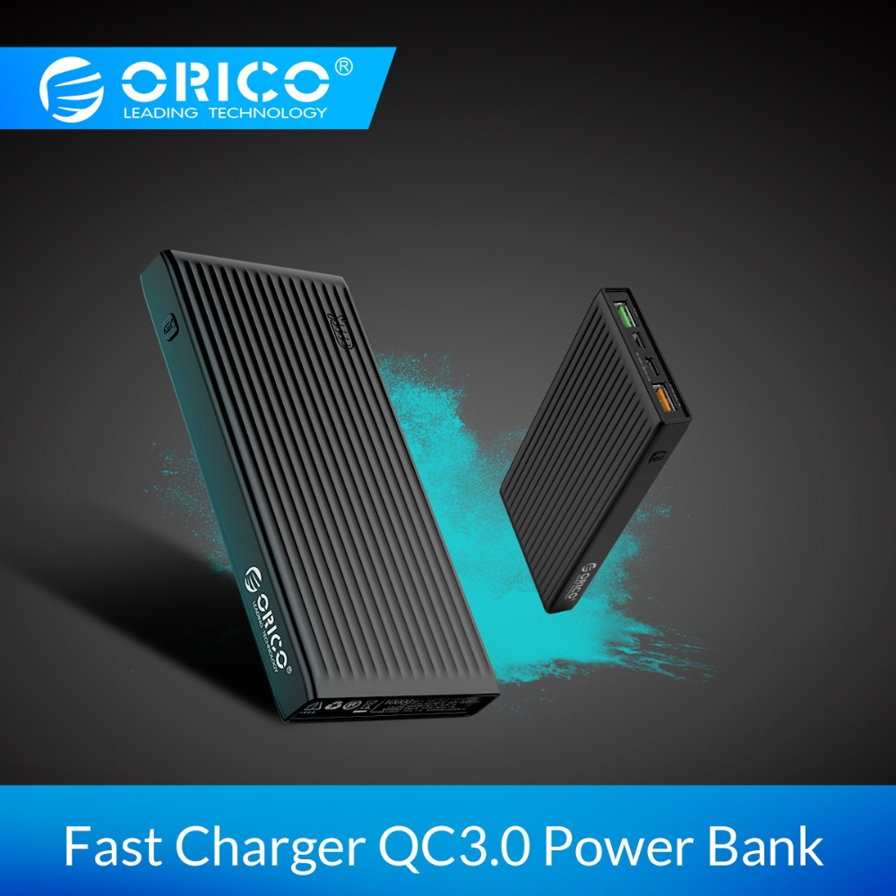 ORICO 20000mAh QC 3.0 Power Bank Portable Two-way Fast Charging 18W Max Output External Battery for Xiaomi Samsung Huawei
