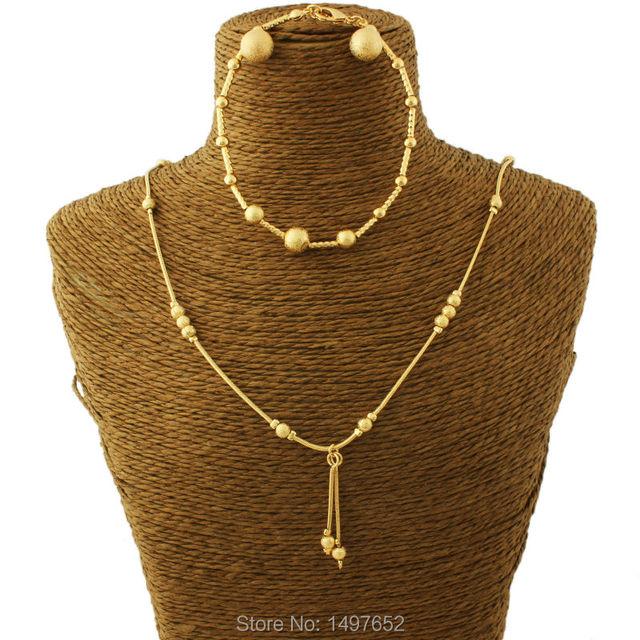 Adixyn New Bead Earrings/Necklace/Bracelet Jewelry Set / Gold Color Jewelry Set