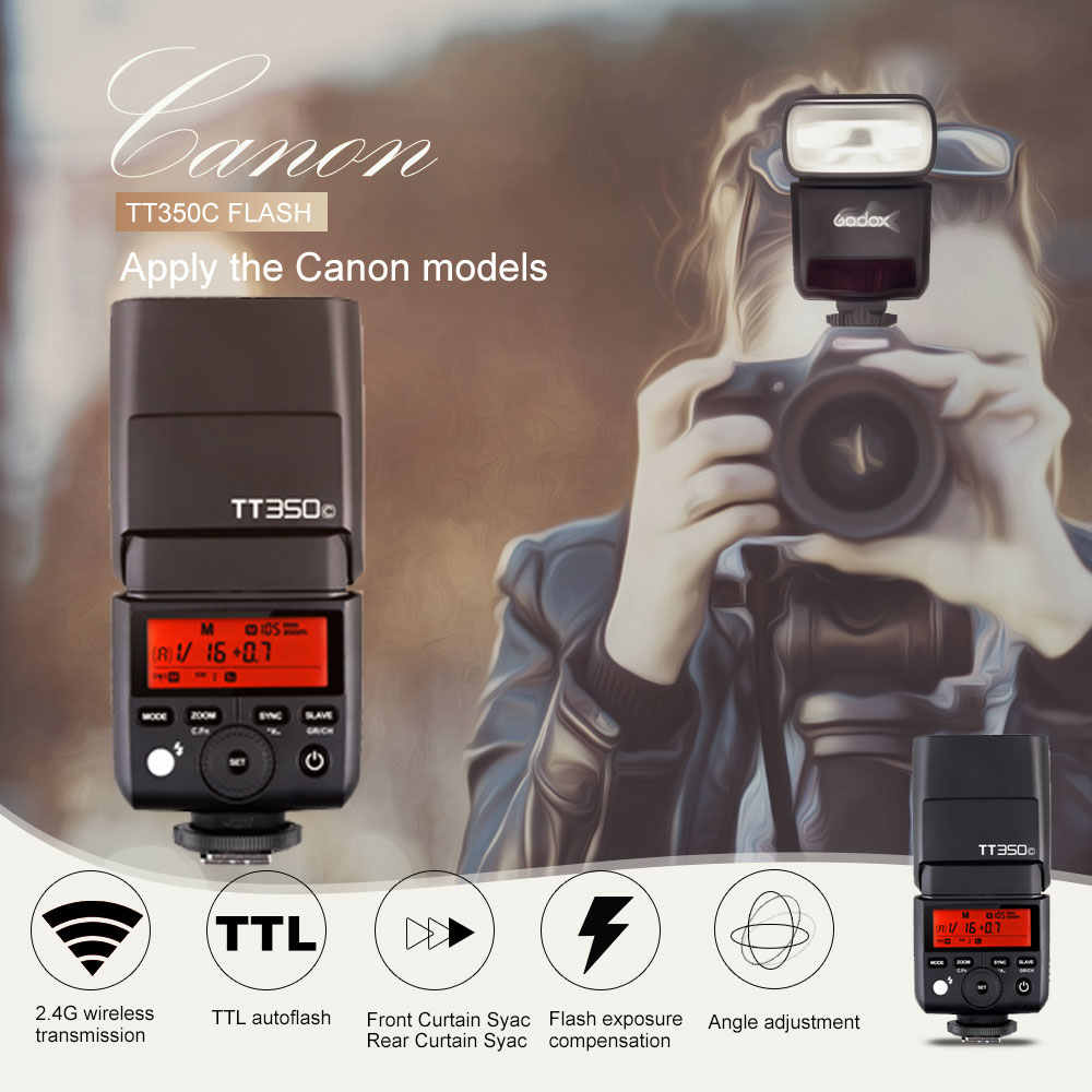 Godox Mini Thinklite E-TTL TT350C Camera Flash High Speed 1/8000s GN36 For Canon Digital Camera with SoftBox+Color Filter Kit godox mini thinklite i ttl tt350n camera flash high speed 1 8000s gn36 for nikon digital camera