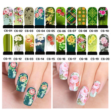 5pcs Charming Flowers Water Transfer Nail Art Stickers Decals DIY Nail Wraps Manicure Tools ( C6 series )