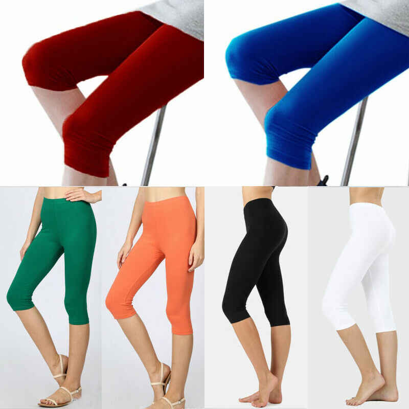Frauen Dünne Leggings Hohe Taille Knie Länge Leggings Einfarbig Sport Casual fitness slim fit Leggings Plus Größe