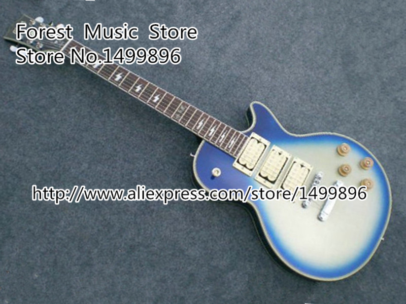 Classical Blue Three Pickups LP Ace Frehley Signature Electric Guitars China Left Handed Custom Available free ship sunset glow tiger flame es classical johnny a signature hollow body electric guitar china custom available
