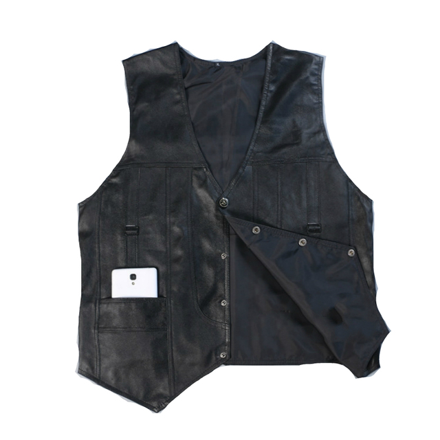 High Quality Leather Vest Mens Clothing Real Sheepskin Waistcoat Winter Autumn Soft Black Mens Gilet Vintage Motorcycle Jacket