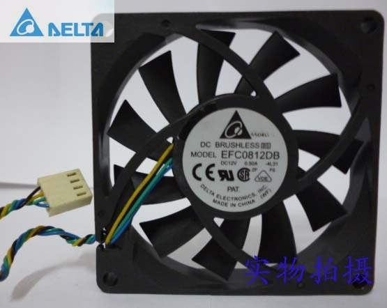 Delta EFC0812DB  8CM 80MM 8015 80*80*15MM 12V 0.5A 4-wire PWM Cooling fan delta 12038 12v cooling fan afb1212ehe afb1212he afb1212hhe afb1212le afb1212she afb1212vhe afb1212me