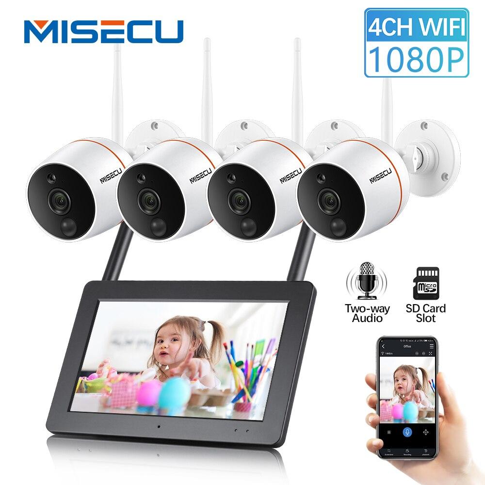 MISECU écran tactile NVR caméra de sécurité wi-fi système cctv 1080 P Extérieure Étanche caméra ip sans fil PIR Carte SD Enregistrement Audio