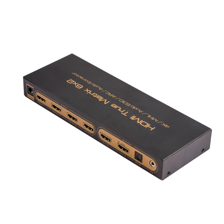 Prix pour HDMI Matrice 6x2 PIP 1.4 V 4 K 3D Audio EDID/ARC/Audio Extracteur 5.1 commutateur ou splitter 6 entrée 2 sortie convertisseur