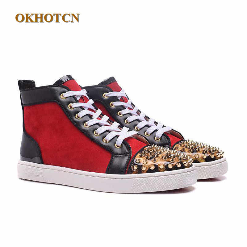 Chaussure Homme Top Quality Unisex Sequins Golden Spikes Rivets Couple Casual  Shoes Red Red High Top f0c96f078510