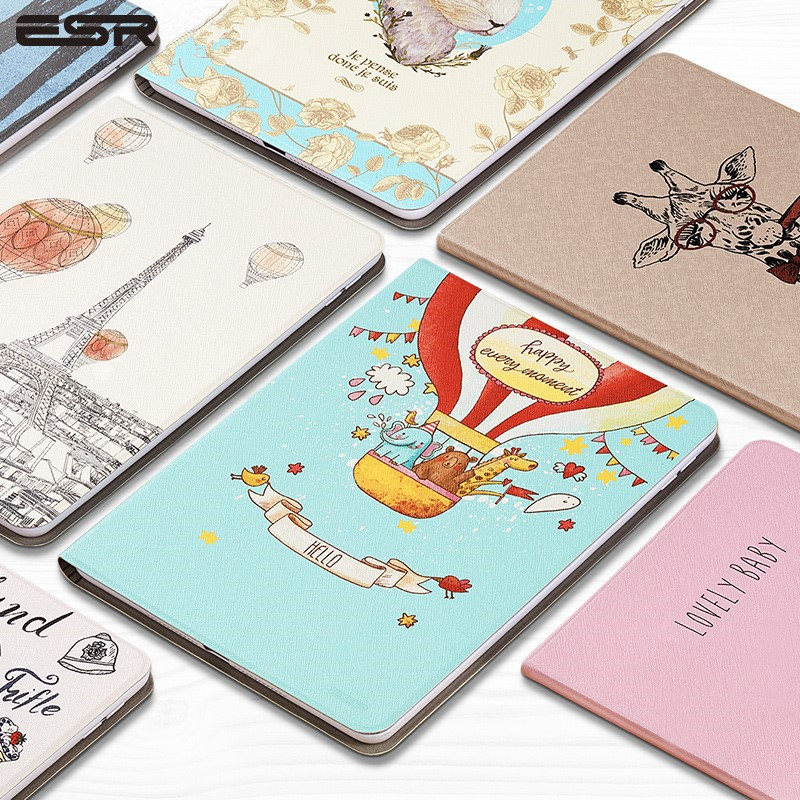 ESR Cartoon illustration Case Cover For Apple New iPad 9.7 2017 2018 Funda cases A1822 PU Leather Stand A1823/A1893/A1954