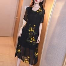 Fake Silk Chiffon Dress Women Plus Size Elegant Vintage Floral Print Midi Party Dresses Robe 2019 Summer Vestidos black Clothing