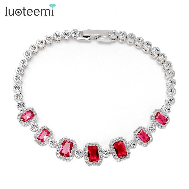 LUOTEEMI новейший браслет 4 цвета вариант высокое качество квадратный AAA кубический цирконий Браслеты для Для женщин и девочек из белого золота-Цвет