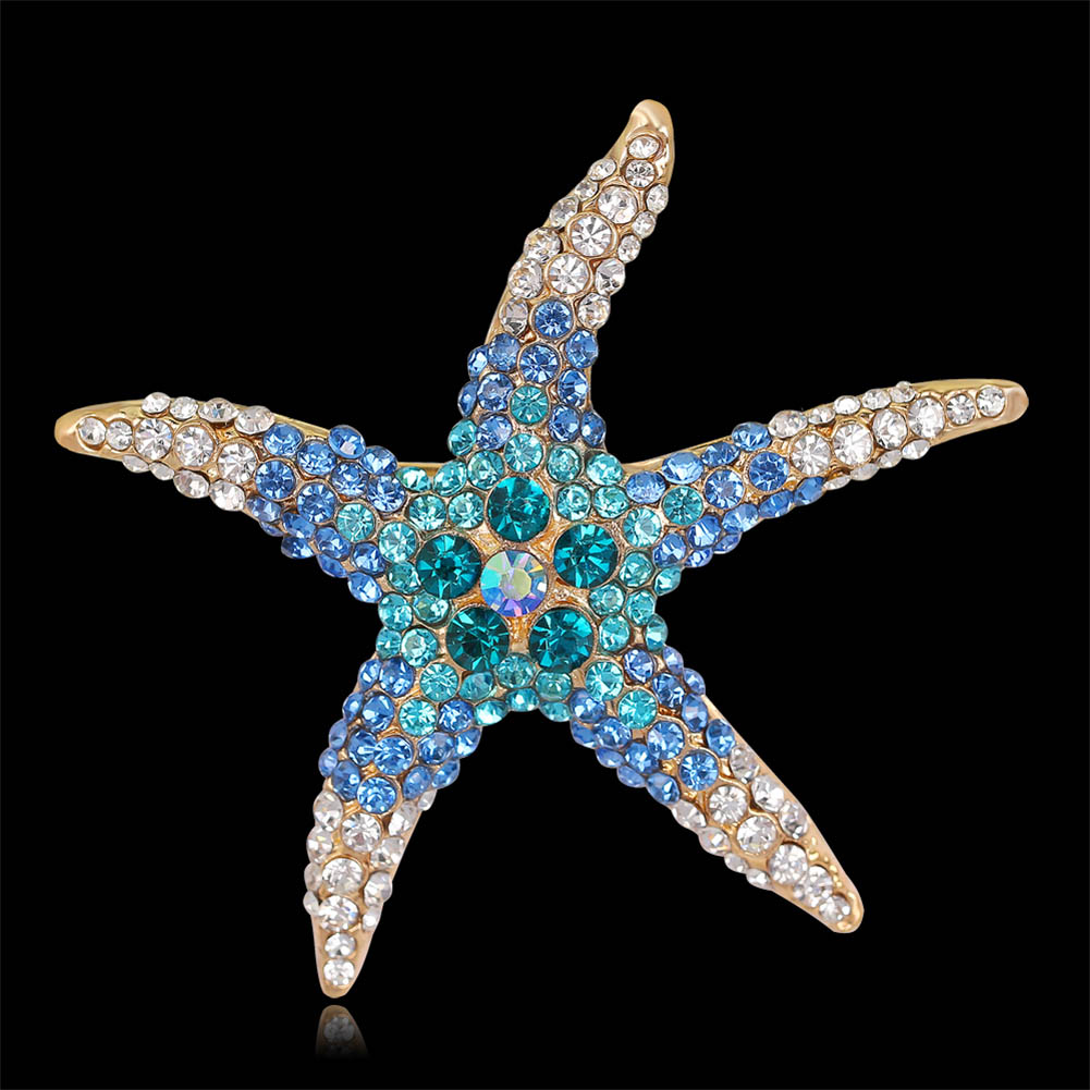 New Arrival Fashion Lovely Imitation Crystal Rhinestone Starfish Brooch Colors Optional font b Jewlery b font