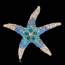 New Arrival Fashion Lovely Imitation Crystal Rhinestone Starfish Brooch Colors Optional Jewlery For Men Women Wholesale Supply