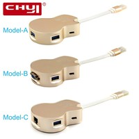CHYI 5-in-1 USB 3.0 HubกับไมโครUSBกำลังไฟสนับสนุนVGA 1080จุดRj45 Erthernet Lanอะแดปเตอร์กีต้าร์Hub