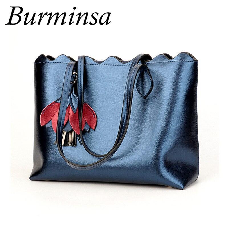 Burminsa Tassel Genuine Leather Handbags Women Big Female Shoulder Bags Ladies Shoulder Messenger Bags 2018 New
