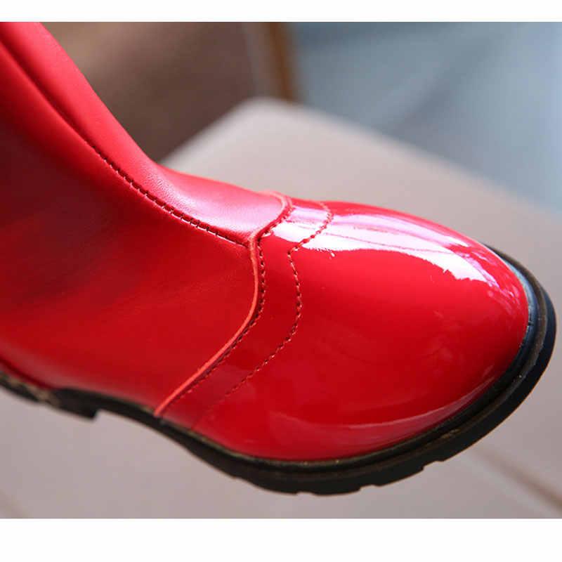 เด็กฤดูหนาวรองเท้าสำหรับสาวลูกไม้ Bowtie กลางลูกวัวบู๊ทส์แฟชั่นเจ้าหญิงฤดูหนาวรองเท้ารองเท้าสีดำสีแดงสีชมพูหิมะรองเท้า