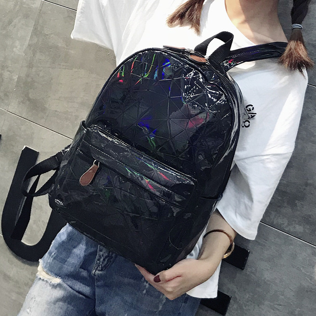 Stylish Holographic Patent Leather Backpack