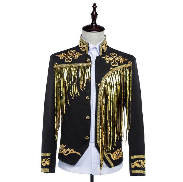 Moda 2017 Hombres de Lentejuelas Trajes Traje cantante masculino oro borla borla del paillette vestido formal traje chaqueta pantalones que arropan el sistema