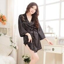 Women Sexy Silk Dressing Lace Lingerie Belt Bath Robe Nightwear Women Sexy Nightwear Female Bathrobes цена