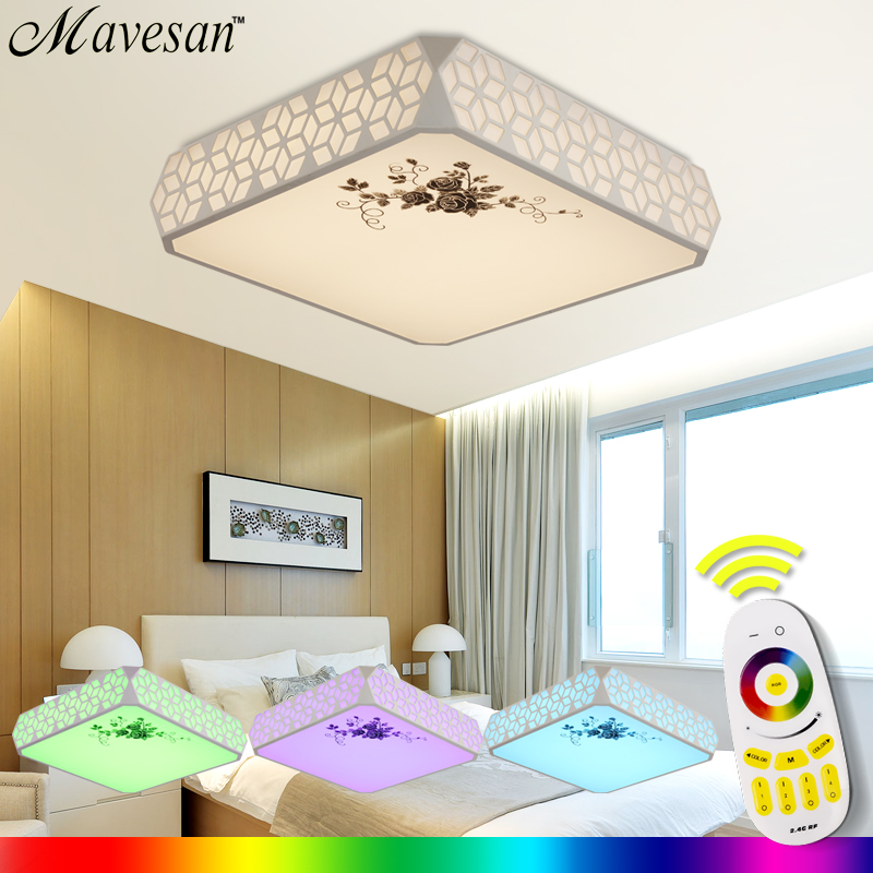 NEW Modern LED Ceiling Light With 2.4G RF Remote Group Controlled Dimmable Color and RGB Changing Lamp For Livingroom Bedroom noosion modern led ceiling lamp for bedroom room black and white color with crystal plafon techo iluminacion lustre de plafond