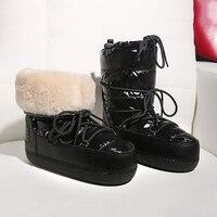 На зимнем меху сапоги новые женские теплые боты до середины икры на шнуровке ботинки на плоской подошве женские теплые овечьим мехом Botas Mujer