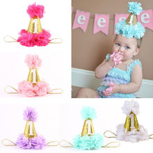1PC Fashion 1st Birthday Hat Golden Glitter First Birthday Party Hat Flower Lace Girls Hat Baby Girls Gold Crown Play Mats(China)