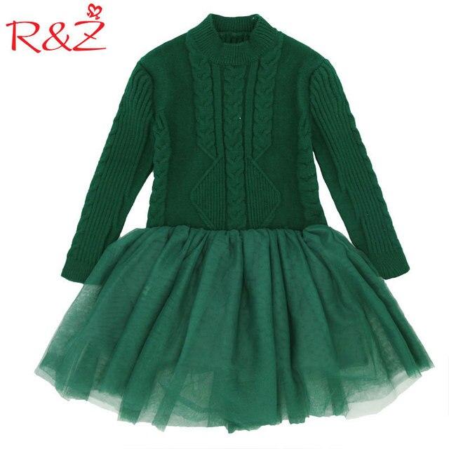R & Z 2019 Camisola Nova Moda Grosso Menina Quente Vestido de Malha de Inverno Crianças Meninas Roupas Crianças Roupas Princesa Fio vermelho G