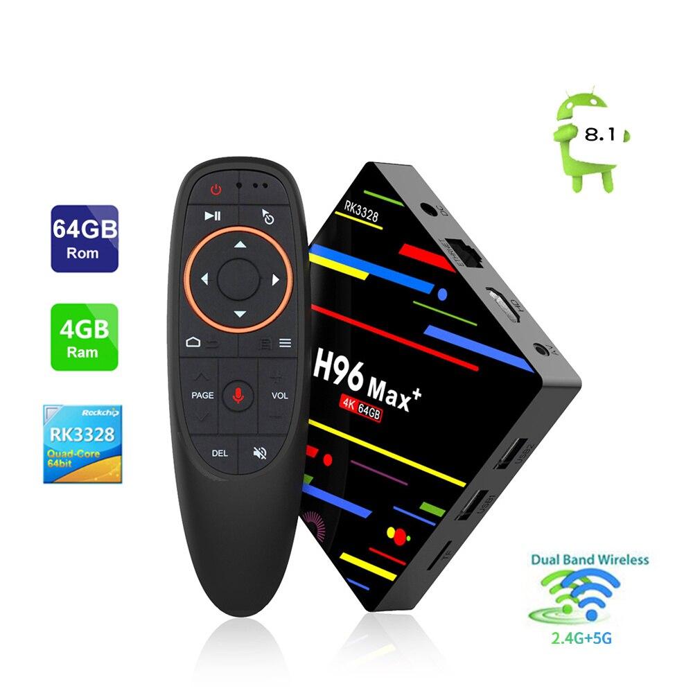 HUACP 4 gb + 64 gb RK3328 Dual WiFi Android 8.1 Smart TV BOX H96 MAX + Plus Con 2.4g Voce di Controllo Remoto 4 k USB 3.0 TV BOX