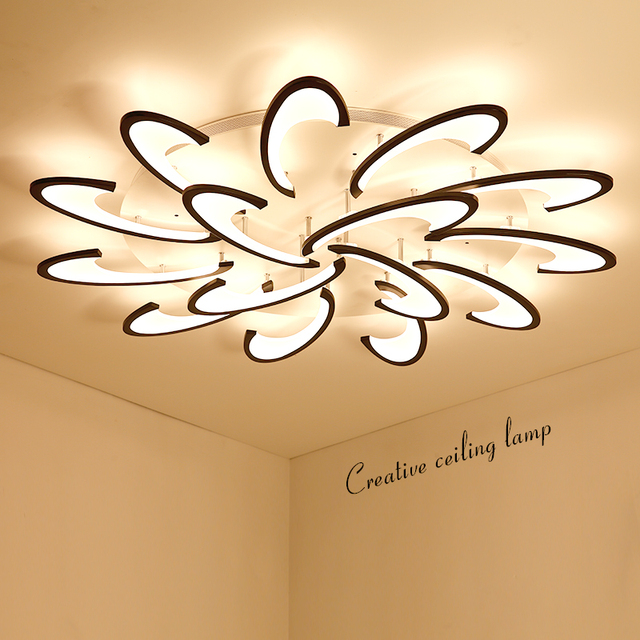 Lican Surface Mounted Modern Led Ceiling Chandelier Lights For Living Room Bedroom White Color Acrylice