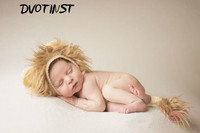 Baby Photography Props Crochet Knitted Newborn Animals Lion Hat+Tail Fotografia Accessories Infantil Studio Shooting Photo