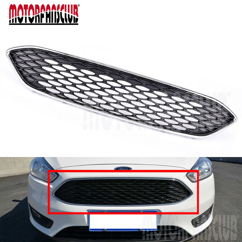 Car Auto Styling ABS Chrome Front Bumper Grille For Ford Focus 2015 2016 Mesh Honeycomb Type Auto Exterior Accessories Cover 15x15cm round svt cobra shelby gt500 super snake chrome abs car styling refitting emblem badge grille trunk 3d sticker for ford