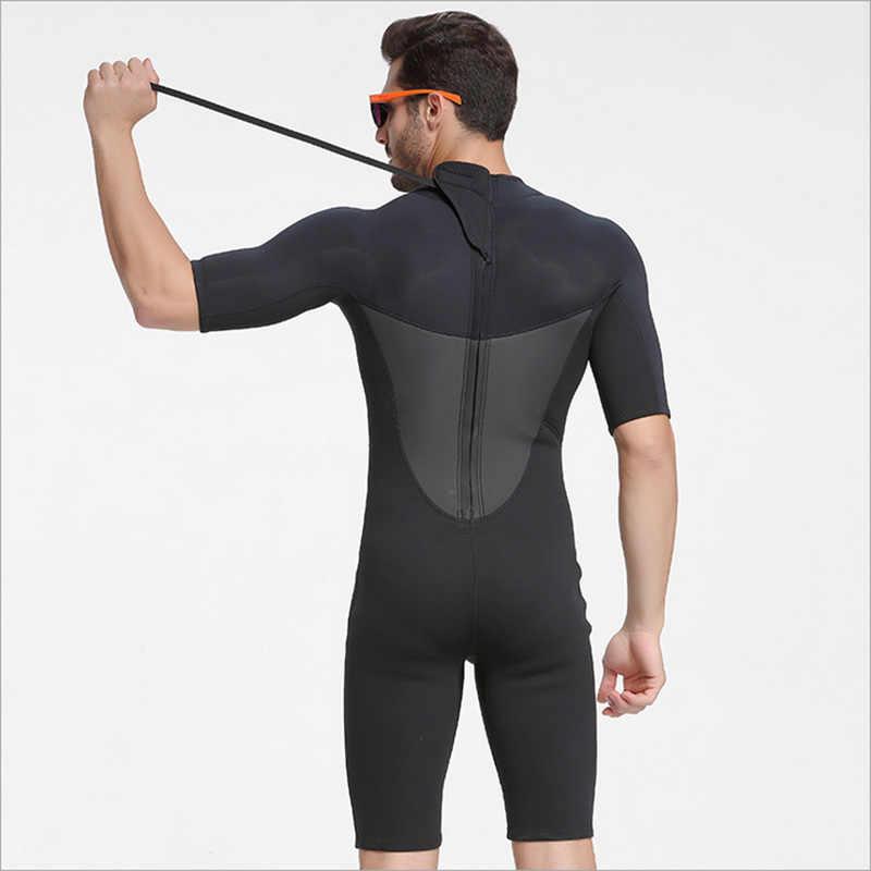 Nowy Sbart 2mm mężczyzna kombinezon Shorty czarny jednoczęściowy z krótkim rękawem kombinezon do nurkowania mokry kombinezon do nurkowania do nurkowania z akwalungiem nurkowanie Surfing snorkeling zimowe