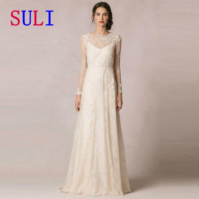 SG189 New Designer Sheer Wedding Dress Lace Beading Illusion Long ...