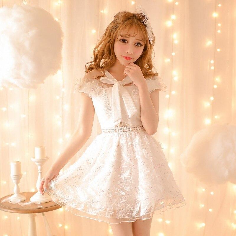 420d26817fd3 Princess sweet lolita dress Candy rain 2016 new women's Japanese sweet white  feather chiffon fresh dress student C16AB6065