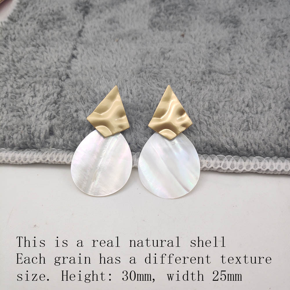 Fashion Wedding Jewelry Hanging Natural Shell Pearl Geometric Earrings High Quality Natural Shell Pendant Earrings for women P40 29