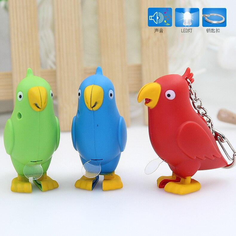 Cute LED Keychain with Sound Light Flashlight The bird Key rings,cartoon Animal Car Key Ring Gift,Children gift toys,bag pendant