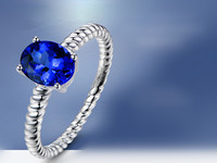 3 Carat Pure 925 Silver Ring Sapphire Jewelry Tanzanite Diamond Ring Twist Twist Grain Ring Arm